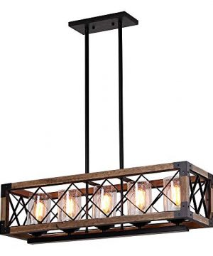 Giluta Rectangle Wood Metal Pendant Light Kitchen Island Chandelier Black Finish Rustic Industrial Chandelier Vintage Ceiling Light Fixture 5 Lights With Seeded Glass Shade 17810 0 300x360