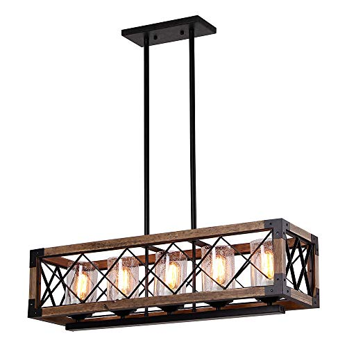 Giluta Rectangle Wood Metal Pendant Light Kitchen Island Chandelier Black Finish Rustic Industrial Chandelier Vintage Ceiling Light Fixture 5 Lights With Seeded Glass Shade 17810 0