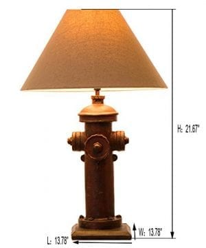 Glitzhome 2165H Table Lamp Farmhouse Rustic DesignTraditional Elegant Polyresin Hydrant And Wooden Base With Neutral Lampshade SoftAmbient Lighting Perfect For Living RoomOffice 0 0 300x360