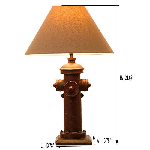 Glitzhome 2165H Table Lamp Farmhouse Rustic DesignTraditional Elegant Polyresin Hydrant And Wooden Base With Neutral Lampshade SoftAmbient Lighting Perfect For Living RoomOffice 0 0