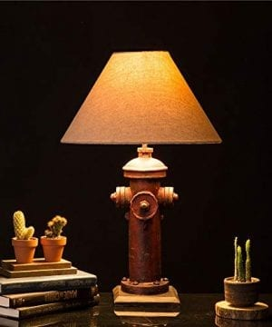 Glitzhome 2165H Table Lamp Farmhouse Rustic DesignTraditional Elegant Polyresin Hydrant And Wooden Base With Neutral Lampshade SoftAmbient Lighting Perfect For Living RoomOffice 0 1 300x360