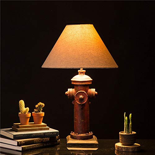 Glitzhome 2165H Table Lamp Farmhouse Rustic DesignTraditional Elegant Polyresin Hydrant And Wooden Base With Neutral Lampshade SoftAmbient Lighting Perfect For Living RoomOffice 0 1