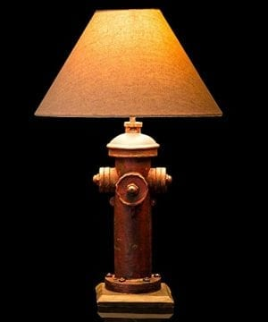 Glitzhome 2165H Table Lamp Farmhouse Rustic DesignTraditional Elegant Polyresin Hydrant And Wooden Base With Neutral Lampshade SoftAmbient Lighting Perfect For Living RoomOffice 0 300x360