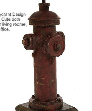 Glitzhome 2165H Table Lamp Farmhouse Rustic DesignTraditional Elegant Polyresin Hydrant And Wooden Base With Neutral Lampshade SoftAmbient Lighting Perfect For Living RoomOffice 0 4 300x360