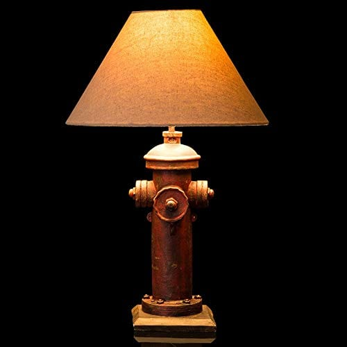 Glitzhome 2165H Table Lamp Farmhouse Rustic DesignTraditional Elegant Polyresin Hydrant And Wooden Base With Neutral Lampshade SoftAmbient Lighting Perfect For Living RoomOffice 0
