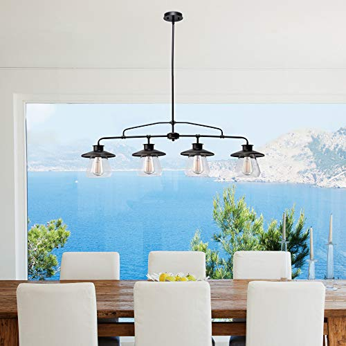 Globe Electric Nate 4 Light Pendant Oil Rubbed Bronze Clear Glass Shades 65382 0 3