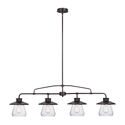 Globe Electric Nate 4 Light Pendant Oil Rubbed Bronze Clear Glass Shades 65382 0