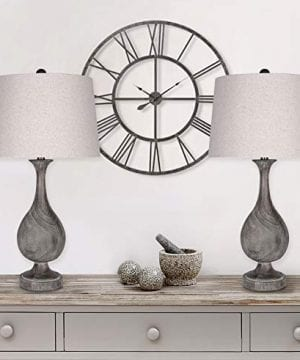 Grandview Gallery 29 Grey Washed Faux Wood Polyresin Table Lamp Set With Teardrop Vase Inspired Design And Oatmeal Linen Tapered Shades Perfect For Nightstands And End Tables Set Of 2 0 3 300x360
