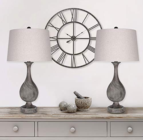Grandview Gallery 29 Grey Washed Faux Wood Polyresin Table Lamp Set With Teardrop Vase Inspired Design And Oatmeal Linen Tapered Shades Perfect For Nightstands And End Tables Set Of 2 0 3
