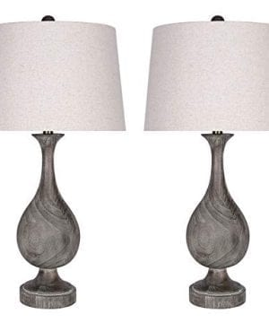 Grandview Gallery 29 Grey Washed Faux Wood Polyresin Table Lamp Set With Teardrop Vase Inspired Design And Oatmeal Linen Tapered Shades Perfect For Nightstands And End Tables Set Of 2 0 300x360