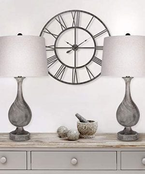 Grandview Gallery 29 Grey Washed Faux Wood Polyresin Table Lamp Set With Teardrop Vase Inspired Design And Oatmeal Linen Tapered Shades Perfect For Nightstands And End Tables Set Of 2 0 4 300x360