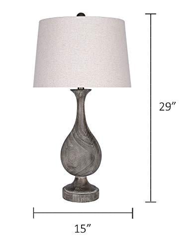 Grandview Gallery 29 Grey Washed Faux Wood Polyresin Table Lamp Set With Teardrop Vase Inspired Design And Oatmeal Linen Tapered Shades Perfect For Nightstands And End Tables Set Of 2 0 5