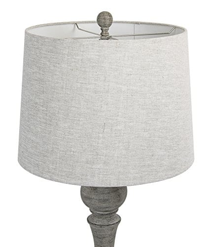 Grandview Gallery 32 Reclaimed Grey Table Lamps WLinen Lamp Shades Set Of Two Farmhouse And Country Style 0 1