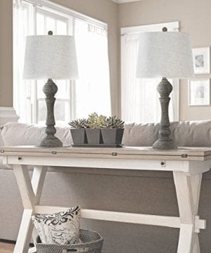 Grandview Gallery 32 Reclaimed Grey Table Lamps WLinen Lamp Shades Set Of Two Farmhouse And Country Style 0 2 300x360