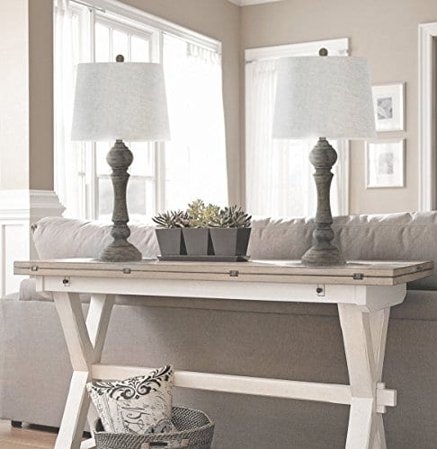 Grandview Gallery 32 Reclaimed Grey Table Lamps WLinen Lamp Shades Set Of Two Farmhouse And Country Style 0 2