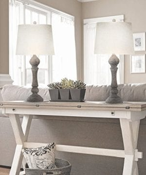 Grandview Gallery 32 Reclaimed Grey Table Lamps WLinen Lamp Shades Set Of Two Farmhouse And Country Style 0 3 300x360