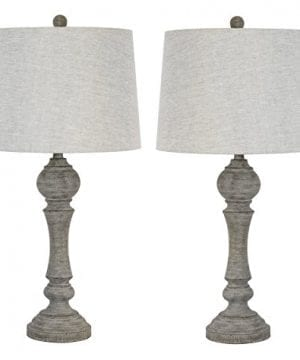 Grandview Gallery 32 Reclaimed Grey Table Lamps WLinen Lamp Shades Set Of Two Farmhouse And Country Style 0 300x360