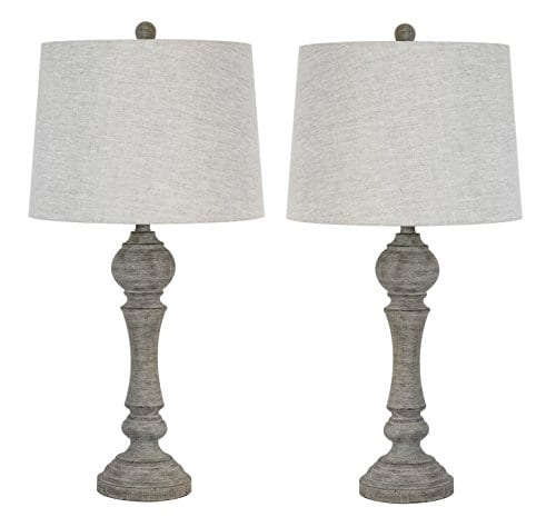 Grandview Gallery 32 Reclaimed Grey Table Lamps WLinen Lamp Shades Set Of Two Farmhouse And Country Style 0