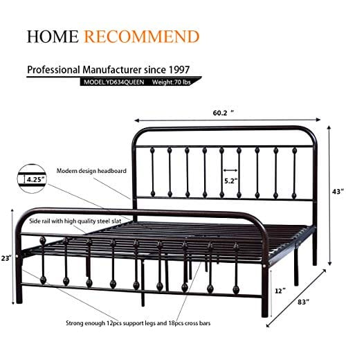 new concept 8cc1b e36a4 Metal Bed Frame Queen Size Steel Slats Platform Base Box Spring Replacement  Foundation with Headboards & Heavy Duty Steel Slats for Living Room Guest  ...