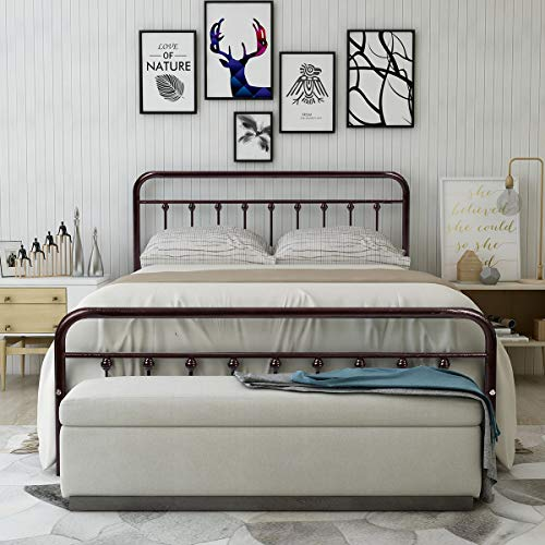 Metal Bed Frame Queen Size Steel Slats