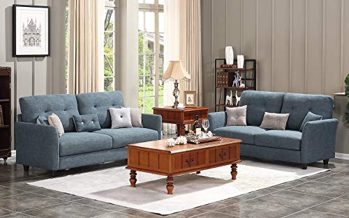 HONBAY Loveseat and Sofa Set for Living Room Sets Couch Living Room  Furniture Set Dark Grey