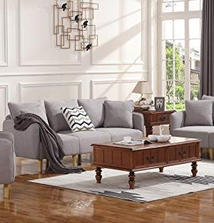 HONBAY 3 Piece Chair Loveseat Sofa Sets for Living Room Furniture Sets,  Light Grey