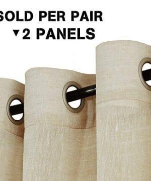 HVERSAILTEX Elegant Natural Linen Curtain Panels Energy Efficient Semi Sheers Linen CurtainsNickel Grommet Window Treatments PanelsDrapes Set Of 2 Beige 52 By 96 Inch 0 0 300x360