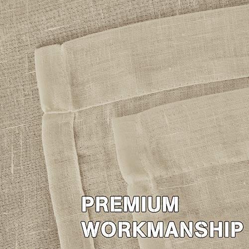 HVERSAILTEX Elegant Natural Linen Curtain Panels Energy Efficient Semi Sheers Linen CurtainsNickel Grommet Window Treatments PanelsDrapes Set Of 2 Beige 52 By 96 Inch 0 2