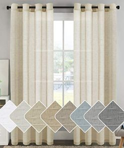 HVERSAILTEX-Elegant-Natural-Linen-Curtain-Panels-Energy-Efficient-Semi-Sheers-Linen-CurtainsNickel-Grommet-Window-Treatments-PanelsDrapes-Set-of-2-Beige-52-by-96-Inch-0