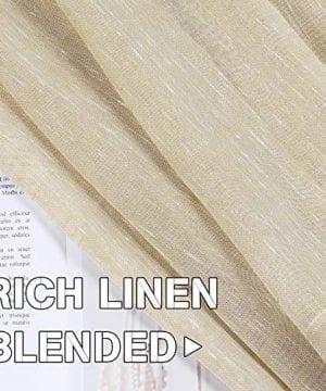 HVERSAILTEX Elegant Natural Linen Curtain Panels Energy Efficient Semi Sheers Linen CurtainsNickel Grommet Window Treatments PanelsDrapes Set Of 2 Beige 52 By 96 Inch 0 3 300x360