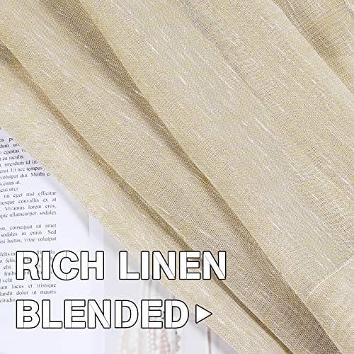 HVERSAILTEX Elegant Natural Linen Curtain Panels Energy Efficient Semi Sheers Linen CurtainsNickel Grommet Window Treatments PanelsDrapes Set Of 2 Beige 52 By 96 Inch 0 3