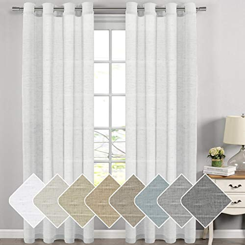 H Versailtex Extra Long Linen Curtains Window Treatments For Living Room Rich Sheer Curtain Panels And D Clic Nickel Grommet