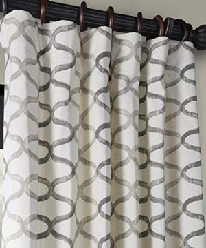 Half Price Drapes PRCT D02 108 Illusions Silver Printed Cotton Curtain 50 X 108 Grey 0 0 300x360