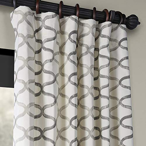 Half Price Drapes PRCT D02 108 Illusions Silver Printed Cotton Curtain 50 X 108 Grey 0 0