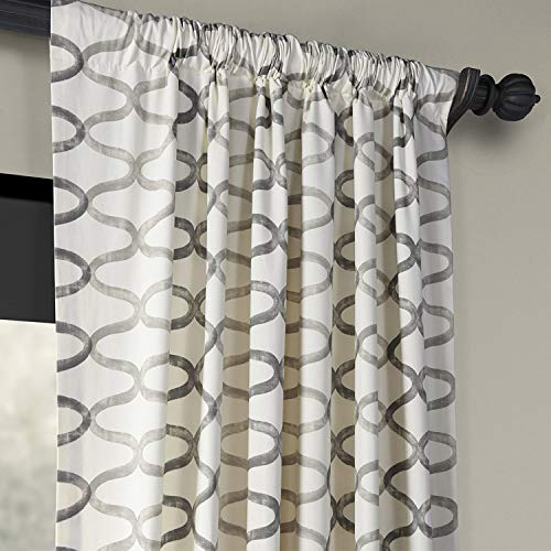 Half Price Drapes PRCT D02 108 Illusions Silver Printed Cotton Curtain 50 X 108 Grey 0 1