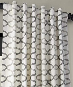 Half Price Drapes PRCT D02 108 Illusions Silver Printed Cotton Curtain 50 X 108 Grey 0 2 300x360