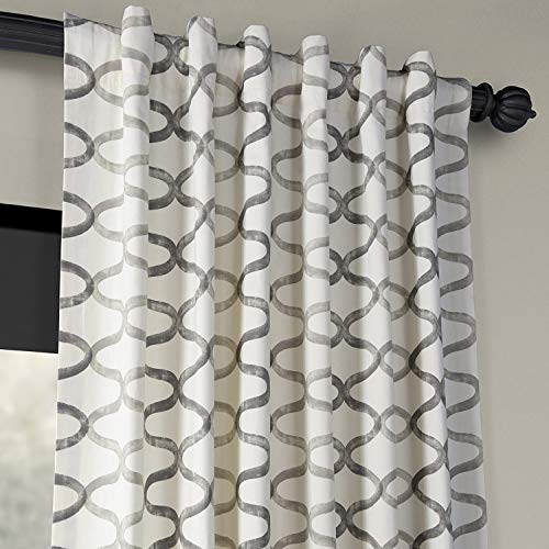 Half Price Drapes PRCT D02 108 Illusions Silver Printed Cotton Curtain 50 X 108 Grey 0 2