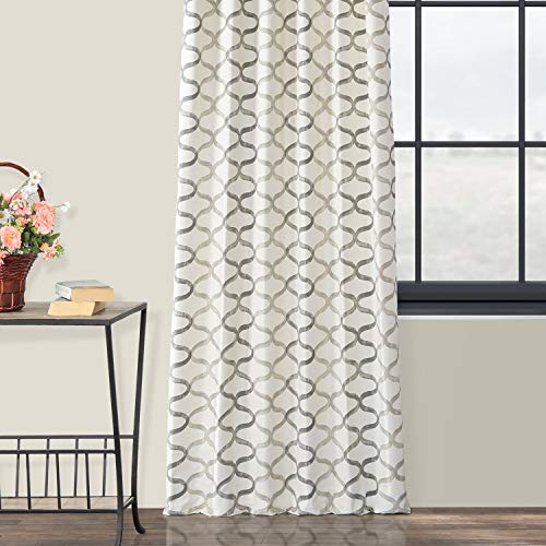 Half Price Drapes PRCT D02 108 Illusions Silver Printed Cotton Curtain 50 X 108 Grey 0 3