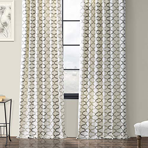 Half Price Drapes PRCT D02 108 Illusions Silver Printed Cotton Curtain 50 X 108 Grey 0 4