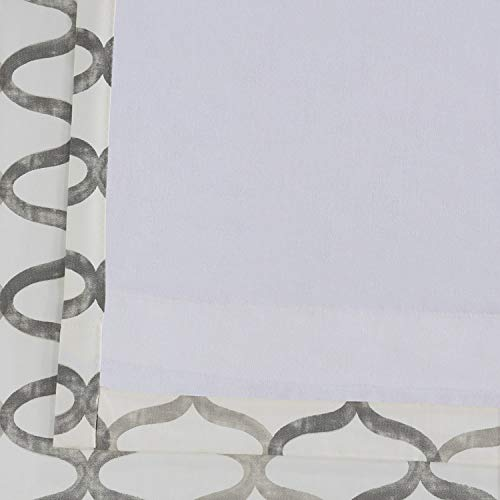 Half Price Drapes PRCT D02 108 Illusions Silver Printed Cotton Curtain 50 X 108 Grey 0 5