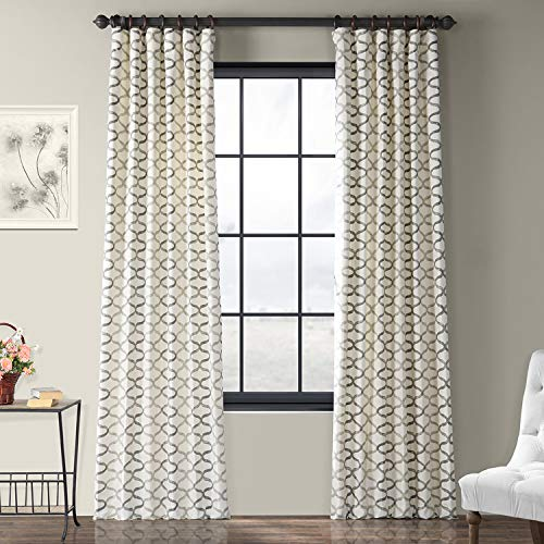 Half Price Drapes PRCT D02 108 Illusions Silver Printed Cotton Curtain 50 X 108 Grey 0
