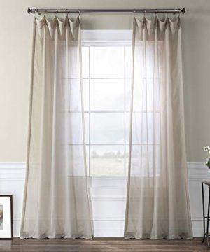 Half Price Drapes SHFLNCH M013 120 Faux Linen Sheer Curtain Tumbleweed 0 300x360