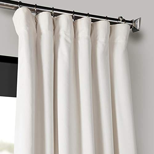 Half Price Drapes VPCH 120601 96 Signature Blackout Velvet Curtain Ivory 50 X 96 0 0