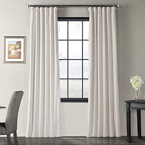 Half Price Drapes VPCH 120601 96 Signature Blackout Velvet Curtain Ivory 50 X 96 0