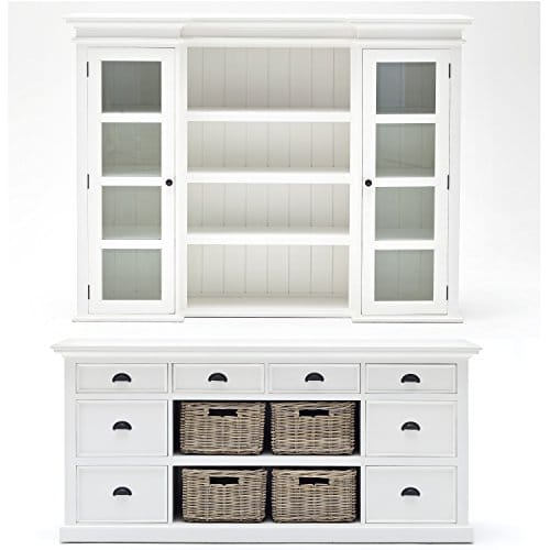 Halifax Mahogany Library or Kitchen Hutch Cabinet with Drawers and Glass  Vitrines, White Distressed Finish