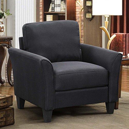 HarperBright Designs 3 Piece Sofa Loveseat Chair Sectional Sofa Set Living Room Furniture Living Room Sofa Black 0 2