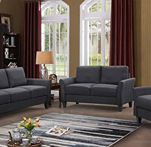 HarperBright Designs 3 Piece Sofa Loveseat Chair Sectional Sofa Set Living Room Furniture Living Room Sofa Black 0 300x292