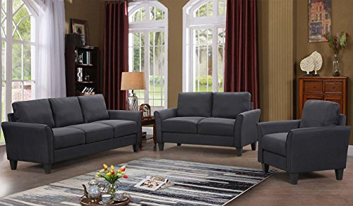 Swell Harperbright Designs 3 Piece Sofa Loveseat Chair Sectional Sofa Set Living Room Furniture Living Room Sofa Black Pabps2019 Chair Design Images Pabps2019Com