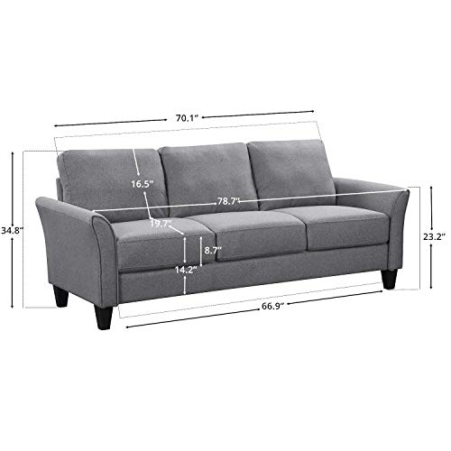 HarperBright Designs Living Room Sets Furniture Armrest Sofa Single Chair Sofa Loveseat Chair 3 Seat Sofa ChairLoveseat Chair3 Seat Sofa Light Grey 0 3