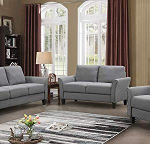 HarperBright Designs Living Room Sets Furniture Armrest Sofa Single Chair Sofa Loveseat Chair 3 Seat Sofa ChairLoveseat Chair3 Seat Sofa Light Grey 0 300x288